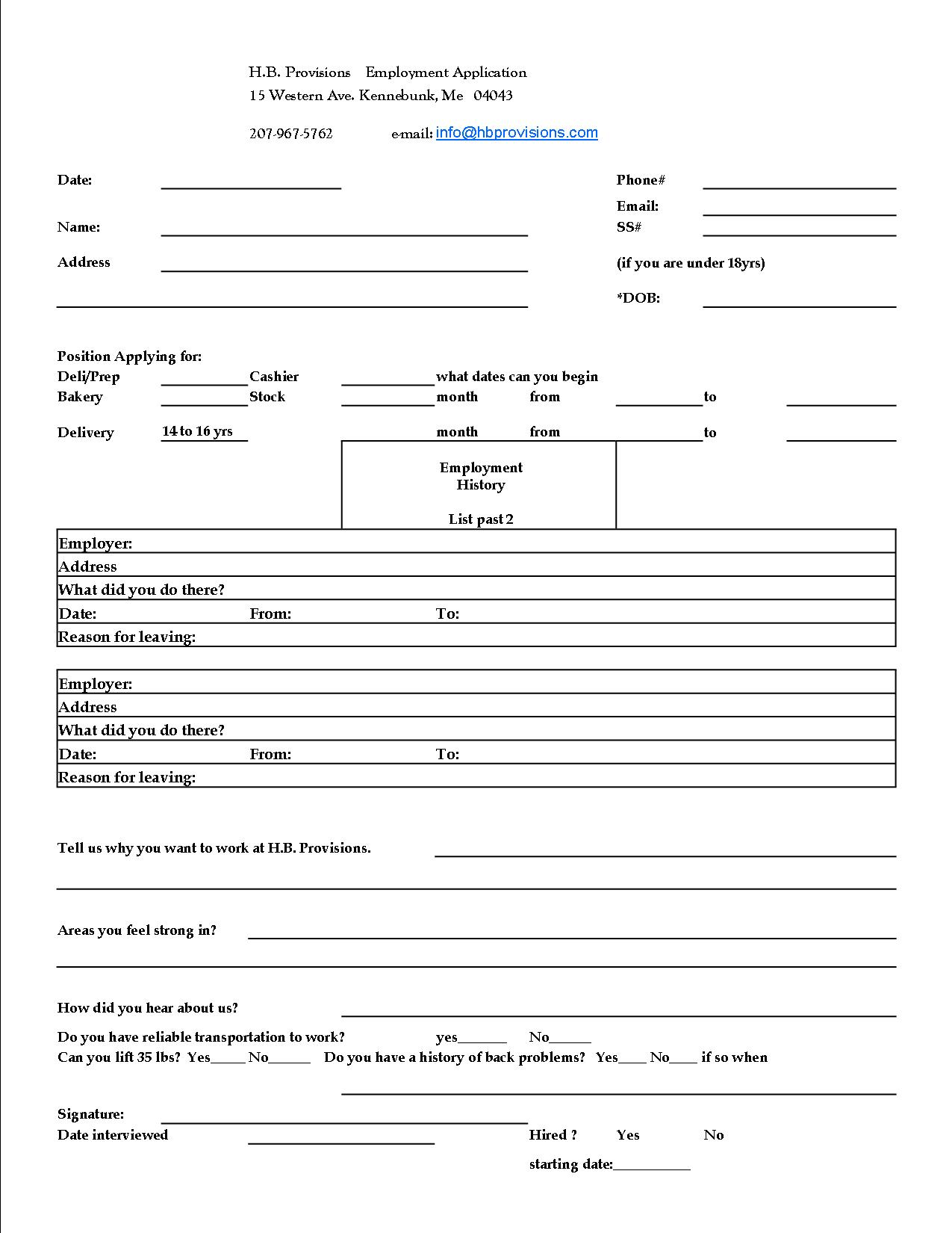 help wanted h b provisions fill out the application below and follow up a call to eric the next day